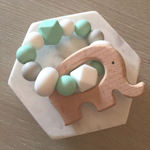 Wood and silicone baby teether teething toy by Hopeandjadehandmade