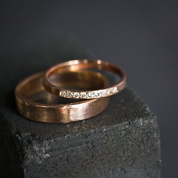 Diamond and Gold  Wedding Band Set by VenaAmorisJewelry on Etsy, $1150.00