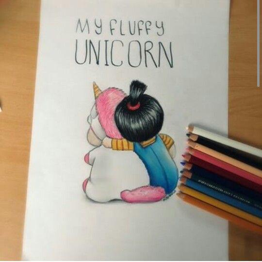 Fluffy unicorn drawing