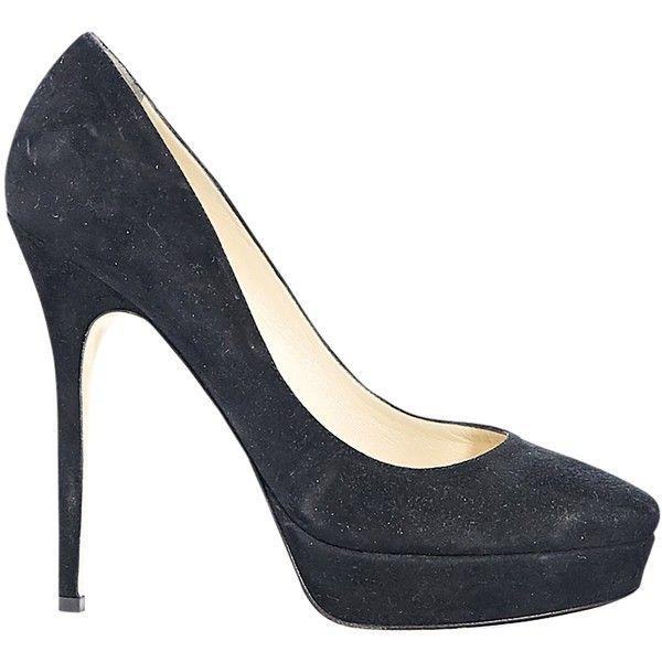 Black Jimmy Choo Suede Platform Pumps (57.579.025 IDR) ❤ liked on Polyvore featuring shoes, pumps, black suede pumps, black platform shoes, slip on shoes, high heel stilettos and stiletto pumps