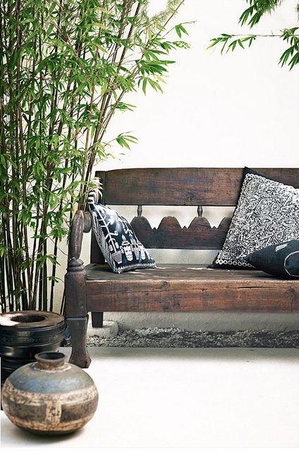 White walls, dark wood, plants!
