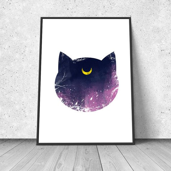 Luna, Sailor Moon inspired, watercolor illustration, giclee art print, silhouette, anime, wall decor