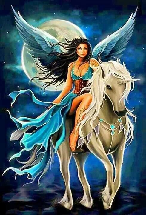 Beautiful/////blue fairy on unicorn