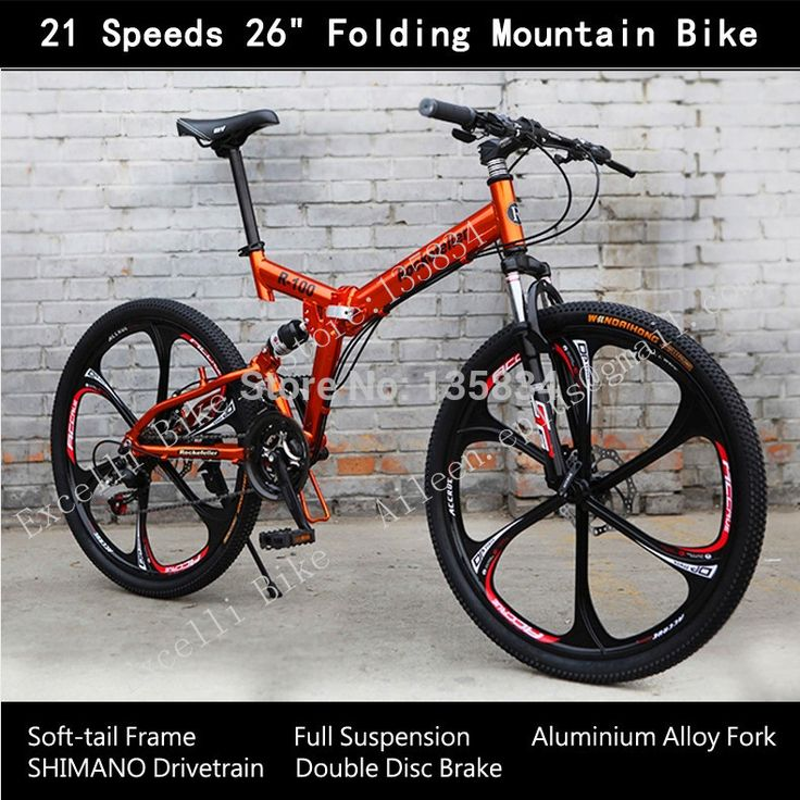 "21 Speeds 26"" Folding Cycling Full Suspension Aluminium Alloy Fork Streamlined Wheels Soft-tail Frame Bicicleta Mountain Bike 26"