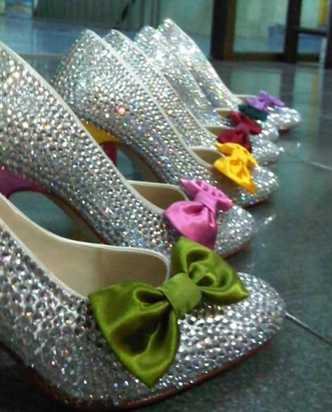 Ummm yes?! This is just my style!: Rainbows Bridesmaid, Wedding Shoes, Sparkly Shoes, Cute Ideas, Bridesmaid Shoes, Rainbows Wedding, Bridal Parties, Bridal Shoes, Bows Shoes