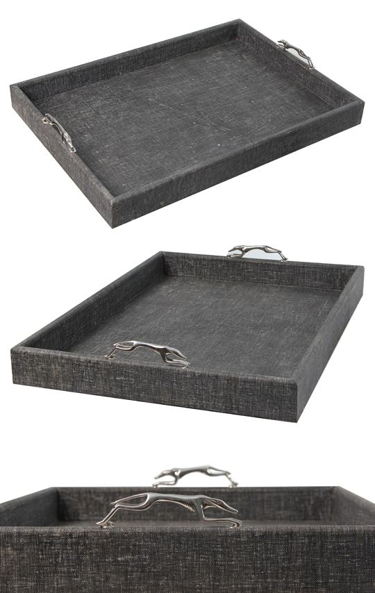 Charcoal grey linen tray with greyhound handles in stainless steel.
