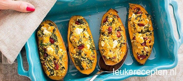 niet alleen gezond maar ook super lekker recept van gevulde zoete aardappel met quinoa en spinazie