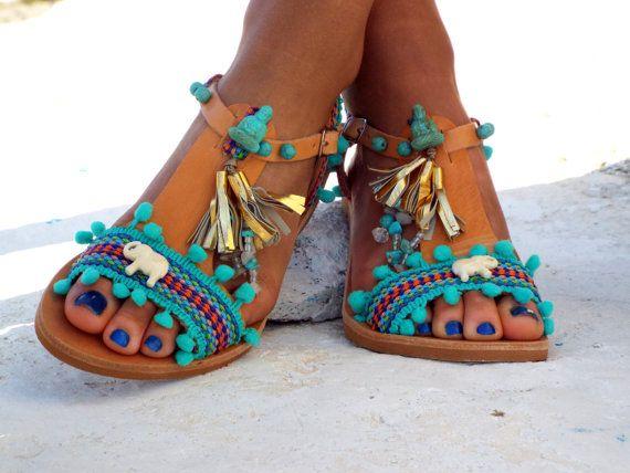 Sandals Pom Pom sandals Blue leather Sandals boho by DelosArt