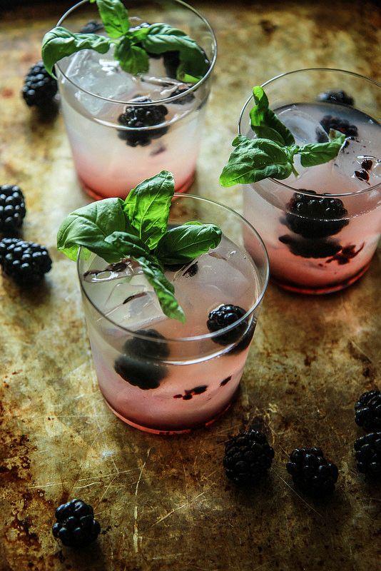 Blackberry Honey Basil Whiskey Lemonade from HeatherChristo.com
