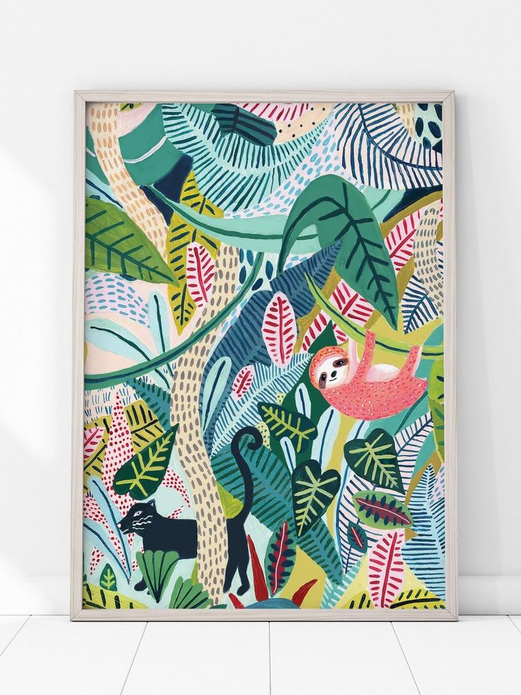 Affiche jungle enfant : les illustrations colorées de Amber Davenport