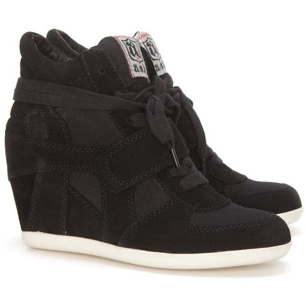 Ash Bowie Suede & Canvas Wedge Sneakers: Black ($235) ❤ liked on Polyvore featuring shoes, sneakers, sapatos, wedges, zapatos, black velcro sneakers, black suede shoes, black laced shoes, black canvas sneakers and canvas lace up sneakers