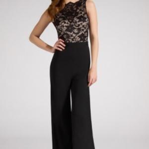 Elegant black and lace top jump suit