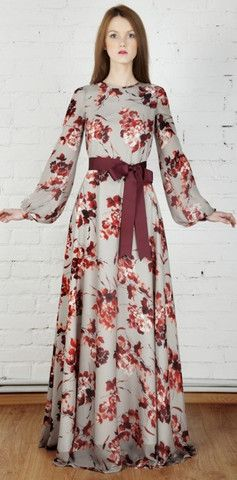 Modest Floral Print Long Sleeve Maxi Dress - Modest floor length dress