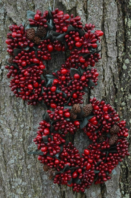 Gorgeous Natural Cranberry Christmas Wreaths or Winter Solstice Wreaths