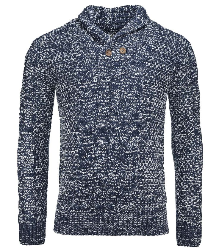 H.Landers Pull Grosse Maille Hiver Mode Homme Tower Col Châle Bleu Marine Chiné