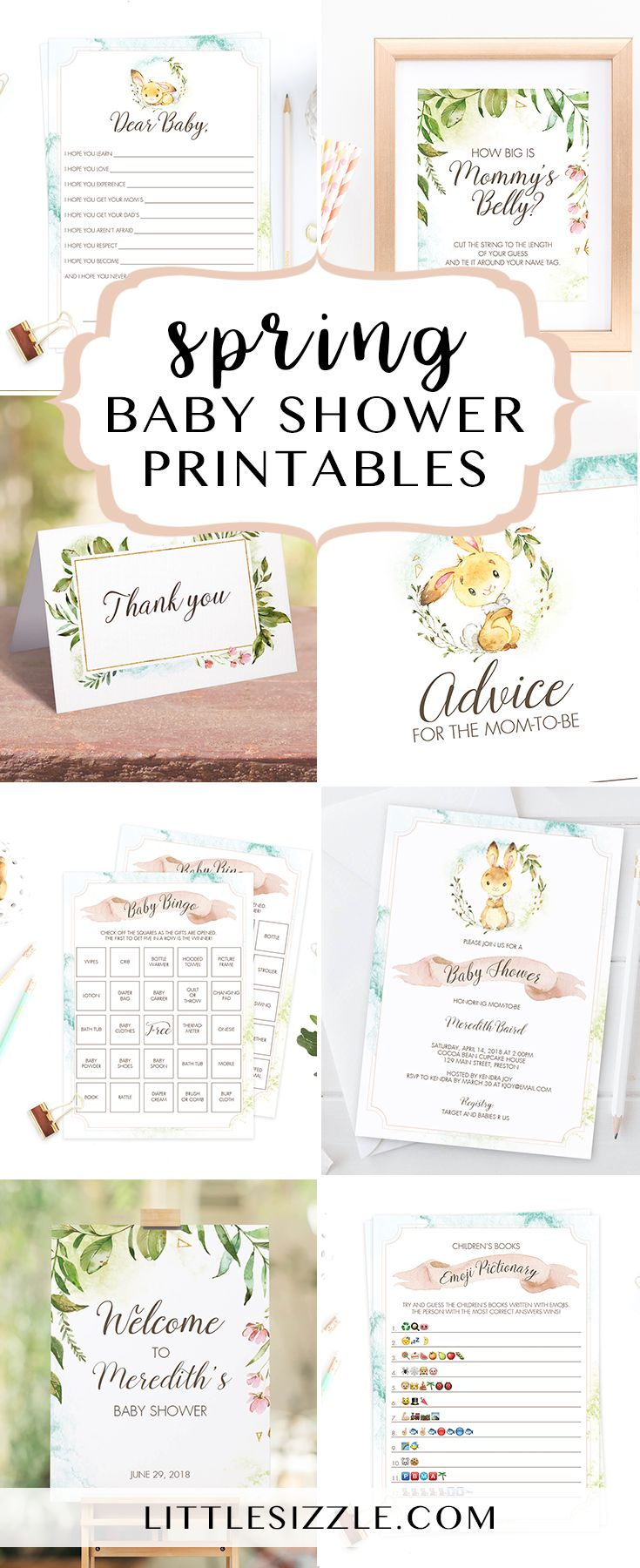 Spring baby shower ideas by LittleSizzle. Printable spring themed baby shower games, spring shower invitation templates and printable spring garden baby shower decor. Whether you are hosting a baby girl shower or a gender neutral baby shower these spring inspired baby shower printables with a cute little bunny, blends of pink and green and watercolor background will set the tone!#babyshowerthemes#babyshowerideas#DIY#printables#spring#watercolor#bunny#babyshowergames#invitationtemplates