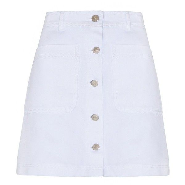 White Denim Mini Skirt - Button Denim Skirt - found on Polyvore