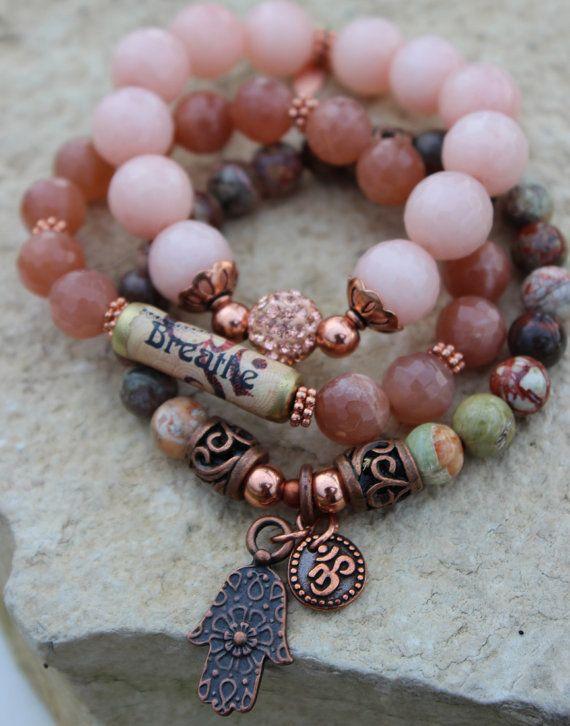 Yoga Chakra Bracelet set Breathe Gemstone Copper by gotchakra