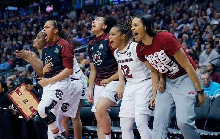 South Carolina celebrates a play Sunday against Mississippi State in the national championship game at American Airlines Arena in Dallas.