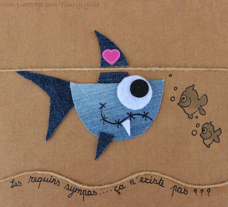 Les requins sympas, ça n'existe pas ?? #jeans #recycle http://pinterest.com/fleurysylvie/mes-creas-la-collec/ et www.toutpetitrien.ch