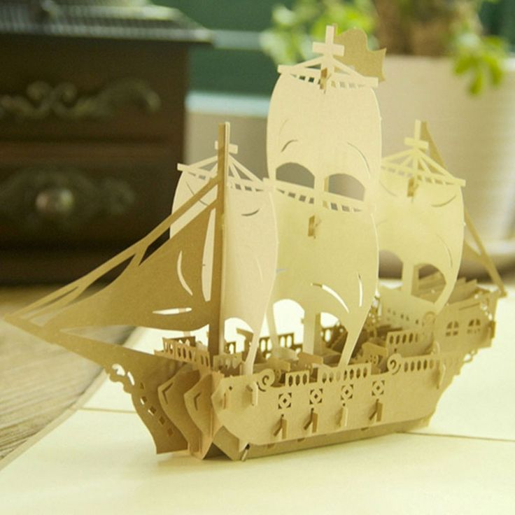 3D Pop Up Origami Paper Laser Cut Greeting Cards Handmade Kirigami Sailing Boat Birthday Christmas Anniversary Postcards Gift