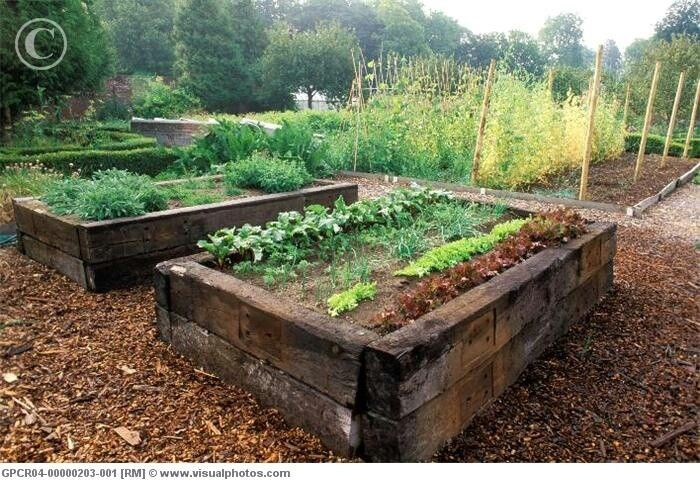 Railroad ties for a raised garden.