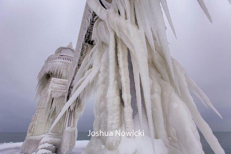 icy lighthouse michigan