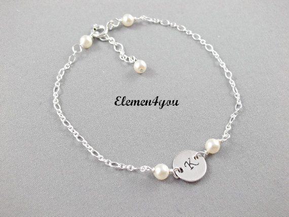Initial charm bracelet, Monogrammed round charm, Personalized bridesmaid bracelet, Sterling silver jewelry, Delicate bracelet, Hand stamped on Etsy, $22.95