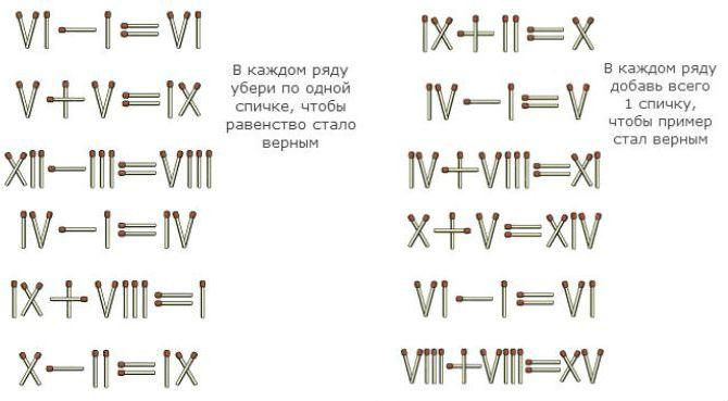 Задачки на римские цифры из спичек