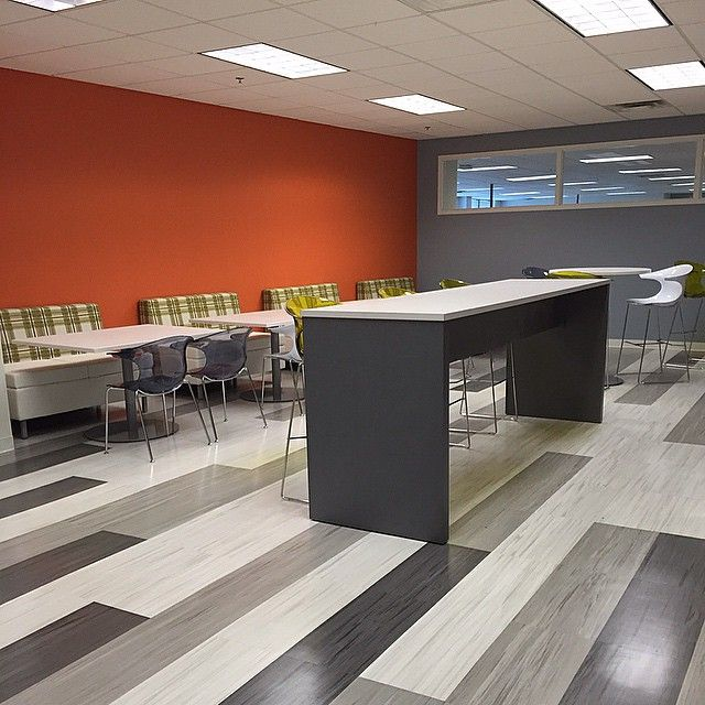 A Fun Break Room We Just Installed Tip Don T Be Scared Of Colors And Patterns That S What Makes A Space Enjoyable To Break Room Armstrong Flooring Interior
