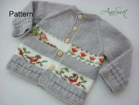"This listing is for the PDF of the knitting pattern . Baby cardigan with embroidery.This cardigan has top-down raglan construction and is worked in one piece.Hand embroidery..Knitting is soft and pleasant to the touch. Difficulty level:Intermediate FINISHED MEASUREMENTS length - 31cm / 11,8"" Chest -54 cm/20,5 To fit a baby aged 6-12 months. GAUGE 25 sts and 36 rows = 10x10 cm/4x4"" Materials: Main color :Colour A - grey 1 x 100gram ball Colour B - white 20g 75% аcrylic,..."