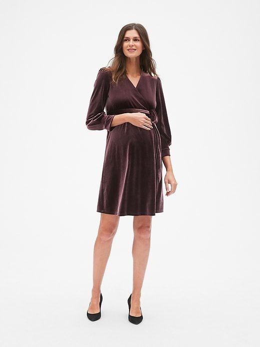 a137075d095ac Maternity Velvet Tie-Waist Crossover Dress   Products   Dresses ...