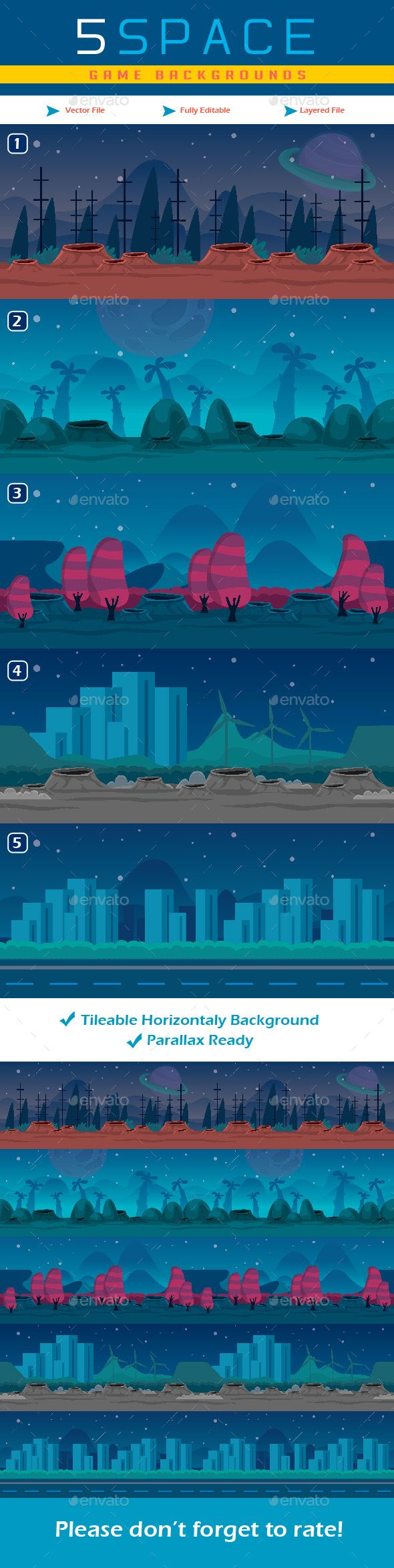 5 Planet Game Backgrounds