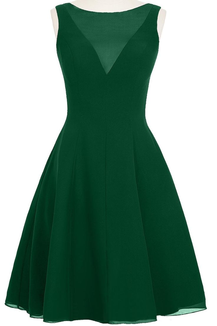 ModernBride Fashion Sexy Short Chiffon Party Summer Dresses Size 2 US Dark Green