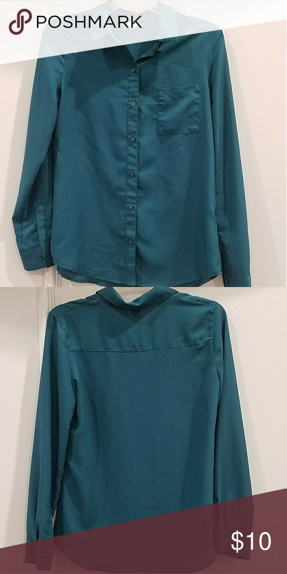 Old Navy 100% Polyester Dress Shirt - Dark Green Worn once for a conference. Goes well with pant or dress suit. Great condition. Ships from Irvine, CA. Old Navy Tops Button Down Shirts