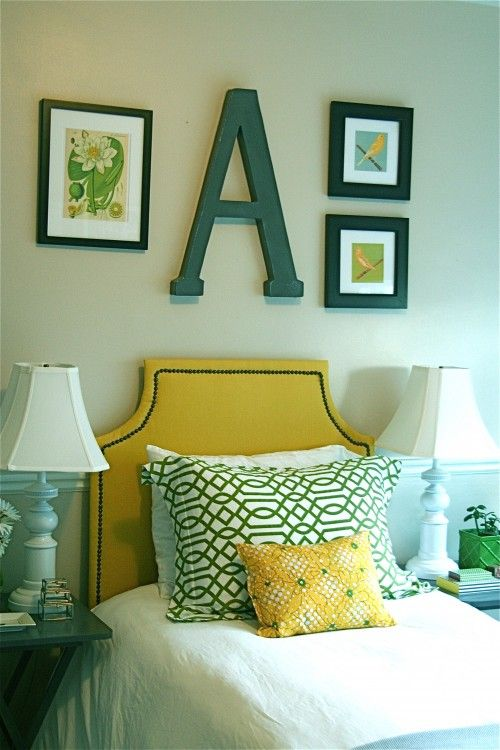 emerald green, yellow and light blue are great together. especially love the A above the bed, cute for a kids room