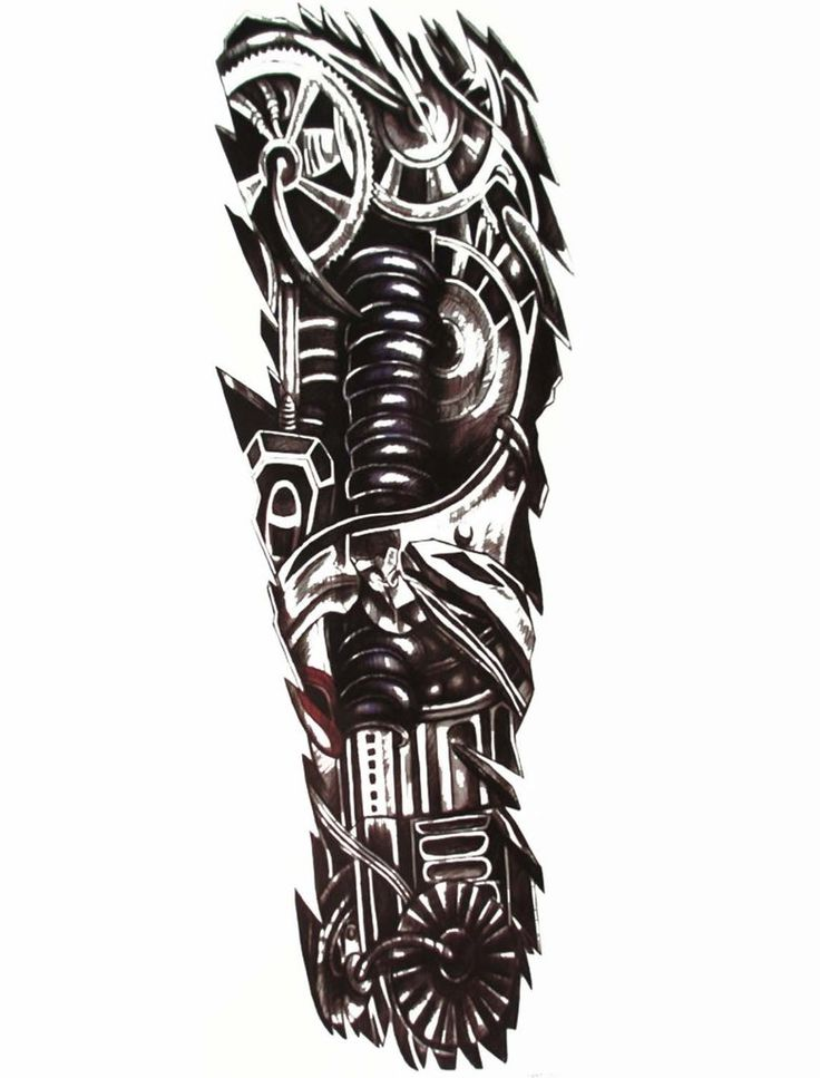Mens Full Arm Sleeve Robot Tattoo, Biomechanical Machine Tattoo - MyBodiArt.com