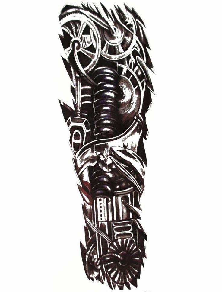 Mens Full Arm Sleeve Robot Tattoo, Biomechanical Machine Tattoo - MyBodiArt.com