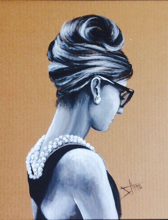 Audrey Hepburn acrylic portrait painting on   Recycled cardboard .