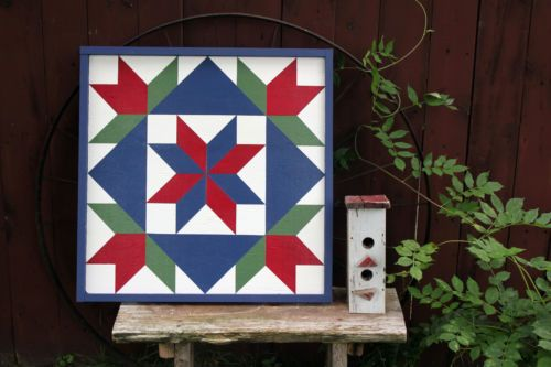 """Barn Quilt 24""""x 24"""" Hand Crafted, hang on Shed, Garage, House or a wall #08"""