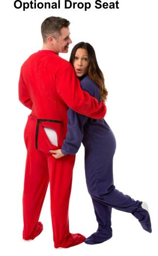 Micro-Polar Fleece Adult Footed Pajamas in Red