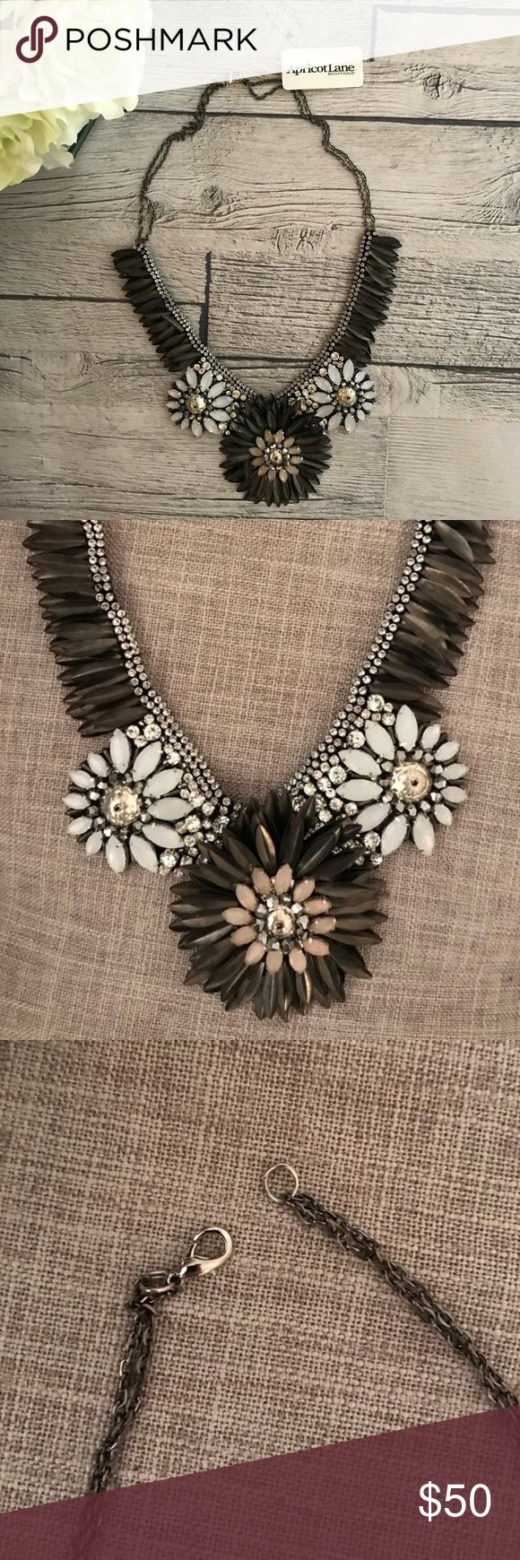 Apricot Lane Boutique • Statement Flower necklace Gorgeous silver & pewter statement necklace! Never worn, bought from a local boutique. From a pet free and smoke free home. Apricot Lane Jewelry Necklaces