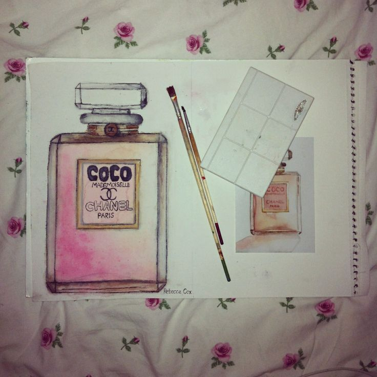 My Coco Chanel perfume bottle watercolour painting