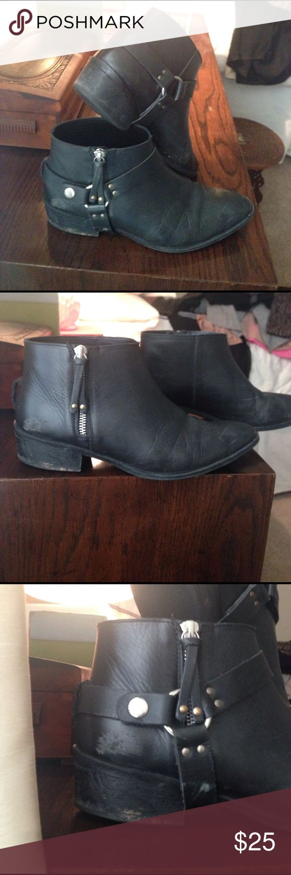 Urban Outfitters 'Deena & Ozzy' Moto Bootie 8.5 Distressing from previous wear present, but looks good on these ankle boots. Moto strap is detachable for a more streamlined look. Deena & Ozzy Shoes Ankle Boots & Booties