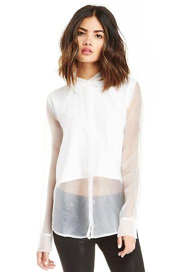 Joa collar sheer dress shirt in white s l dailylook for Small collar dress shirt