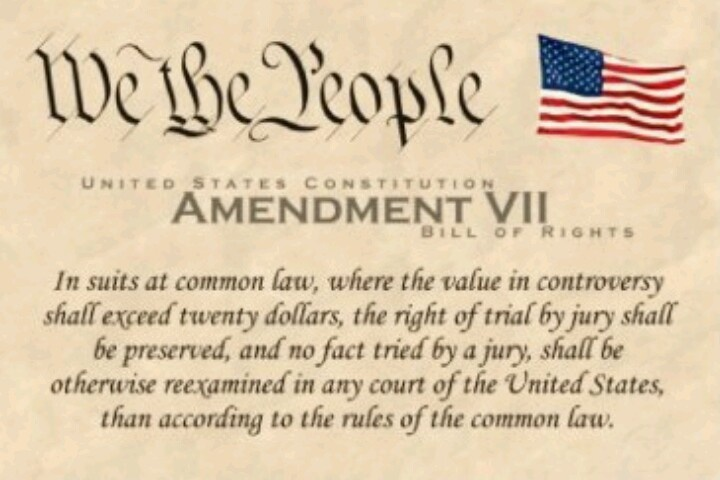 7th amendment Seventh amendment - the text in suits at common law, where the value in controversy shall exceed twenty dollars, the right of trial by jury shall be preserved, and no .