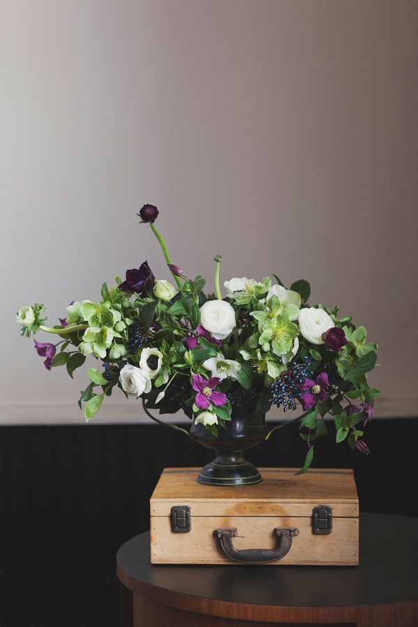 purples and whites //  Styling and Florals by Sweet Woodruff, photo by Vicky Starz Photography