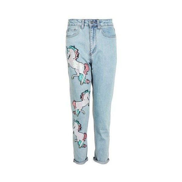 Sequin Unicorn Mom Jeans by Kuccia (105 CAD) ❤ liked on Polyvore featuring jeans, blue, patching blue jeans, sequin jeans, topshop jeans, patch jeans and blue jeans