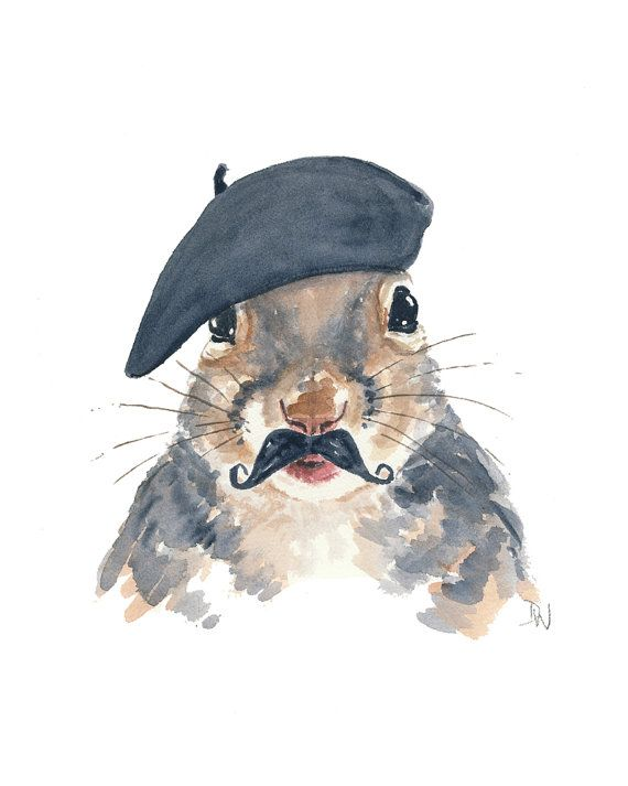 """""""An original watercolour painting featuring a sophisticated French squirrel (ok, he's actually from Quebec) wearing a beret and a jaunty mustache?"""" What's not to love?!"""