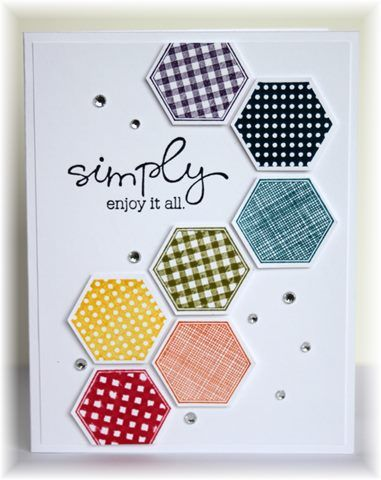 The card - hexagon stamp/punch is from SU.  I stamped the hexagons in a variety of colors, punched them out and then popped them up o...